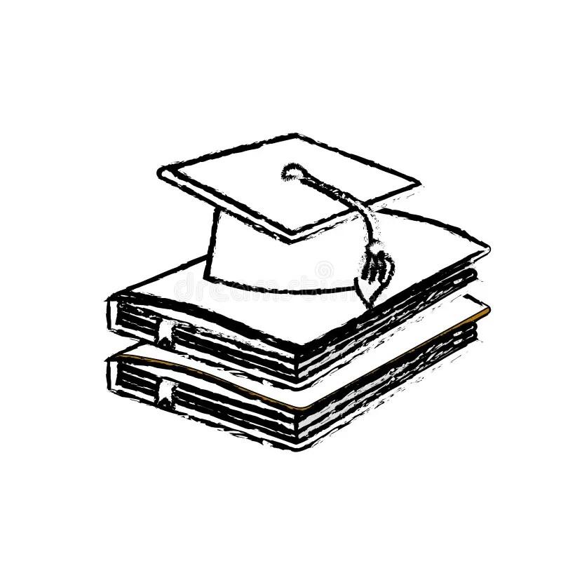 Graduation Hat On Papers Book For Logo Design Illustration