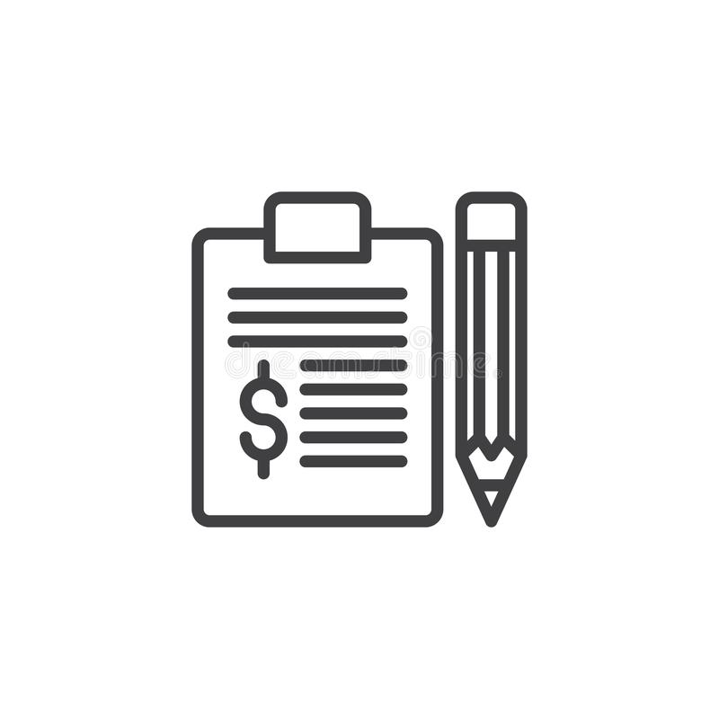 Dollar Sign With Clipboard And Pen Stock Illustration
