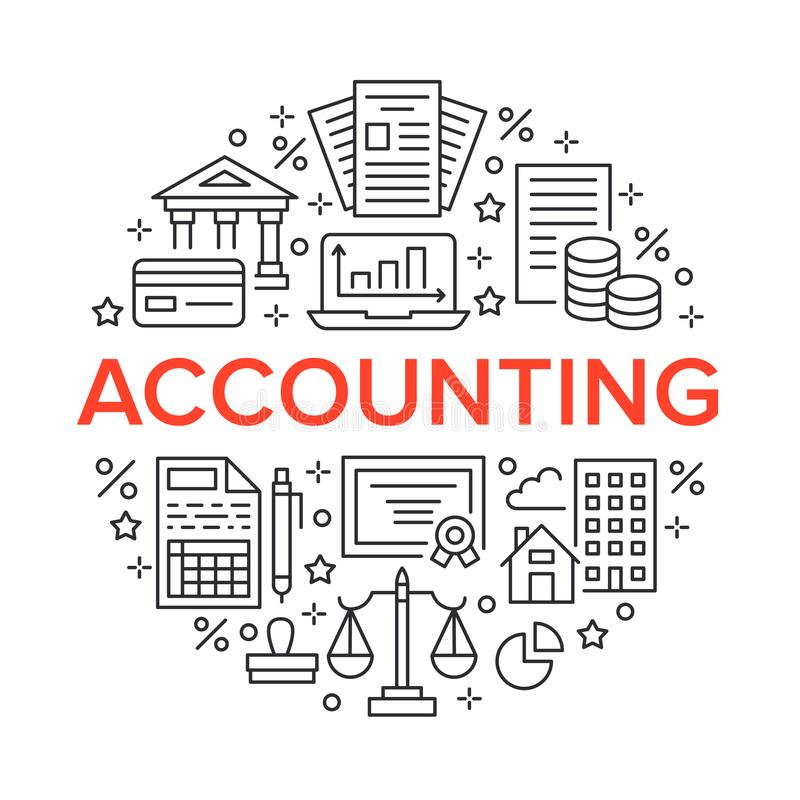 Financial Accounting Circle Poster With Flat Line Icons