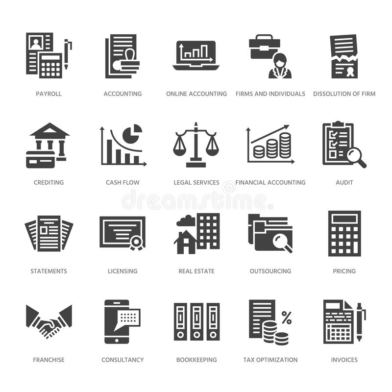 Financial Accounting Flat Line Icons. Bookkeeping, Tax