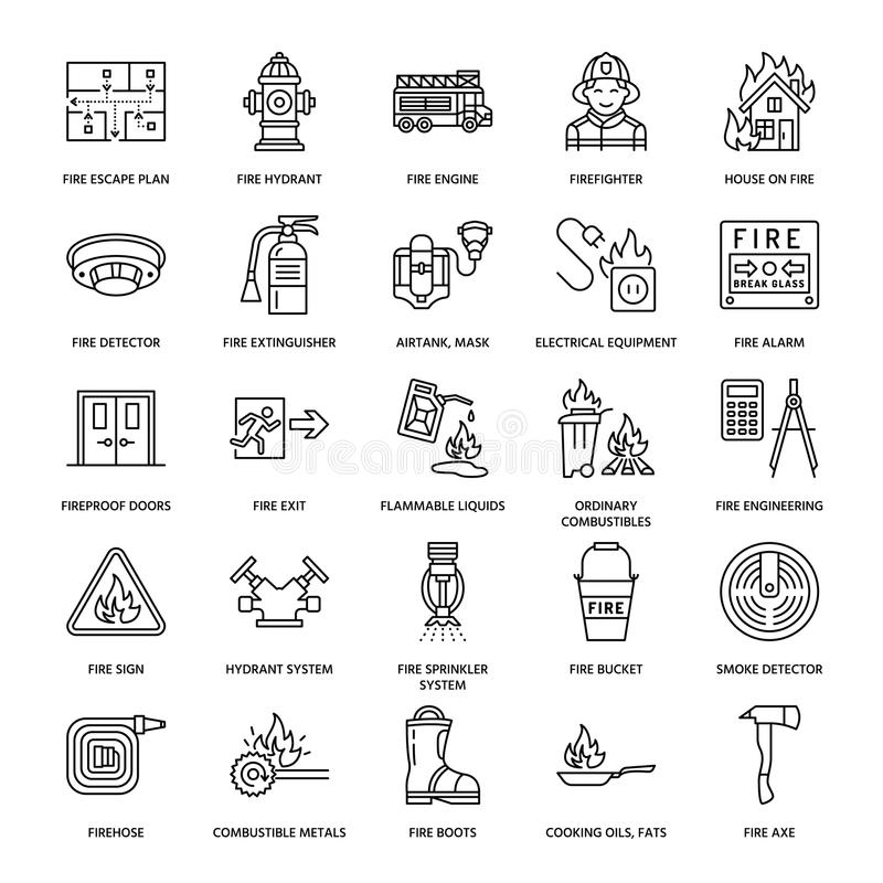 Firefighting, Fire Safety Equipment Flat Line Icons