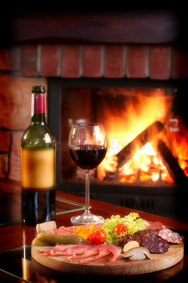 Fireplace And Red Wine stock image Image of heat hearth  1728139