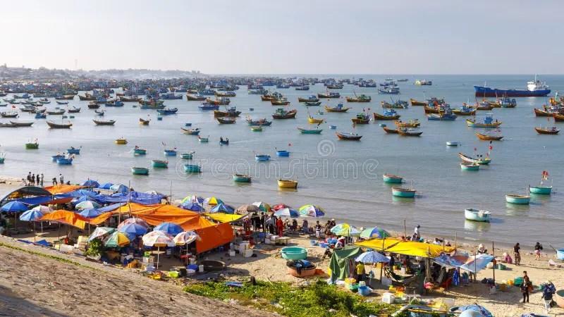Fishing Harbor Full Of Boats In A Bay In Mui Ne. Vietnam Stock Photo - Image of transportation. ocean: 138897210