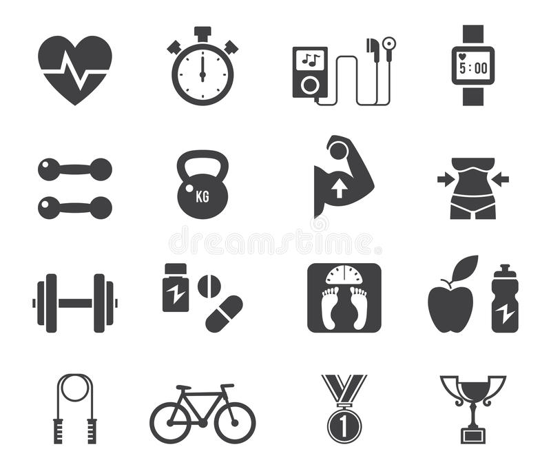 Fitness And Diet Icon Set In Black. Stock Vector