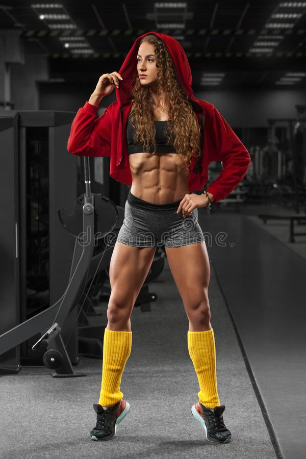 Fitness Girl In Gym Flat Belly Abs Beautiful Muscular Woman Shaped Abdominal Stock Photo Image Of Sportswear Girl 102319708