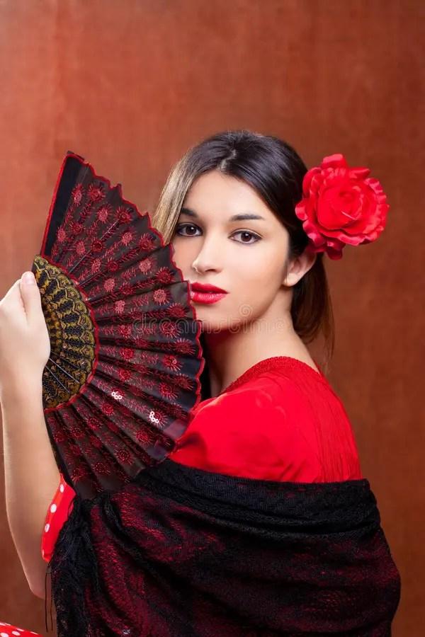 Flamenco Dancer Woman Gipsy Red Rose Spanish Fan Royalty