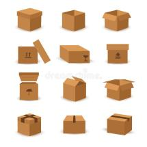 Flat Box And Packing Vector Icon Stock