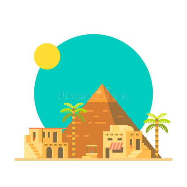 Flat Design Of Great Pyramid Giza In Egypt Stock Vector