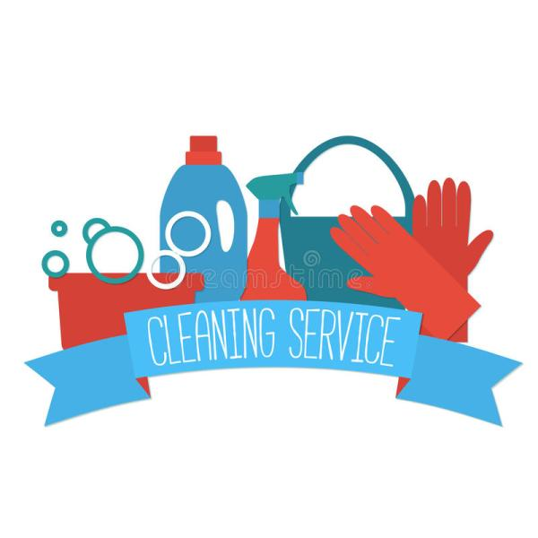 Flat Design Logo Cleaning Service. Stock Vector