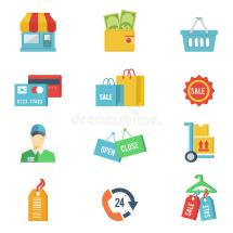 Flat Design Vector Shopping Icons Stock
