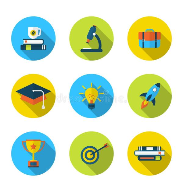 Flat Icons Of Elements And Objects High School