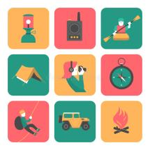 Flat Icons Of Travel And Adventure Stock Vector