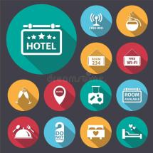 Flat Long Shadow Hotel Icon Set.vector Eps10. Stock Vector