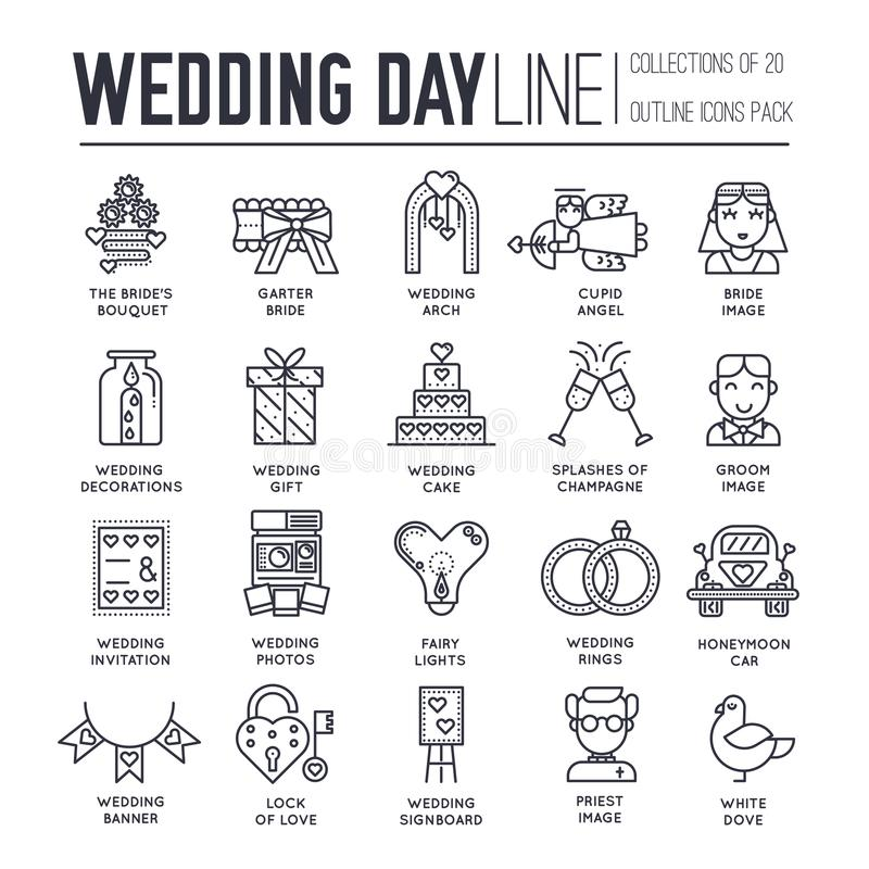 Flat Wedding Illustration Thin Line Icon Set. Vector Happy