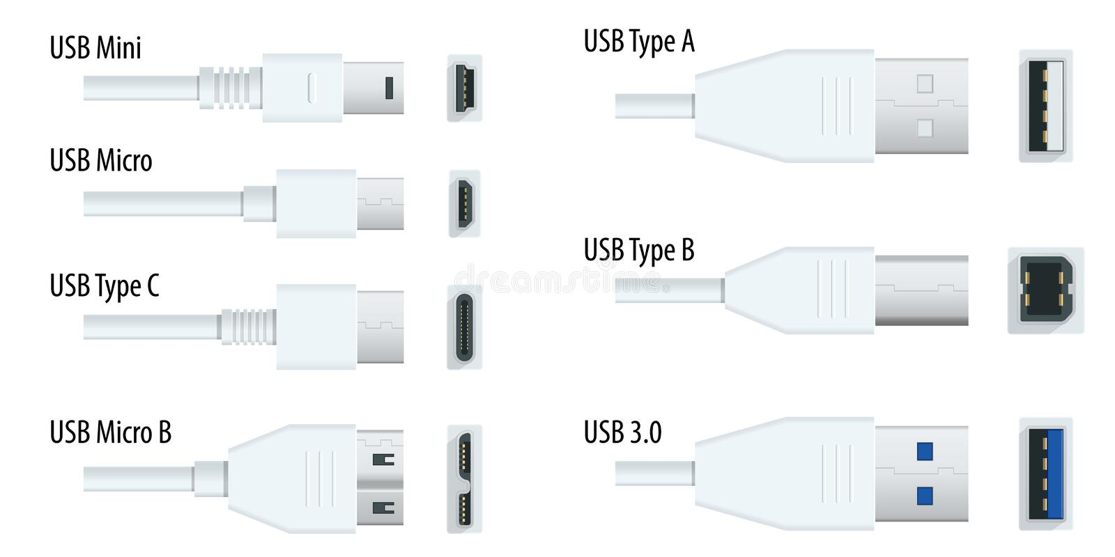 Connector And Ports. USB Type A And Type C, Video Ports