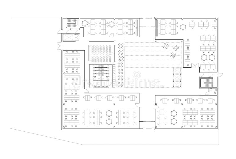 Floor Plan Of The Office Building Stock Illustration