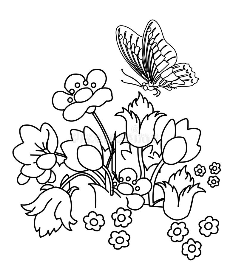 Flower Garden With Butterfly Coloring Page Stock