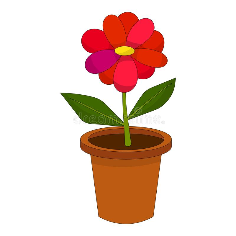 Bright Cartoon Flower In The Pot Isolated Stock Vector Illustration Of Flora Beautiful 165456229