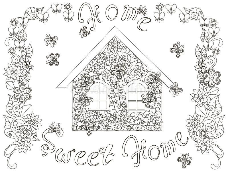 Flowers House With Lettering Home Sweet Home And Floral