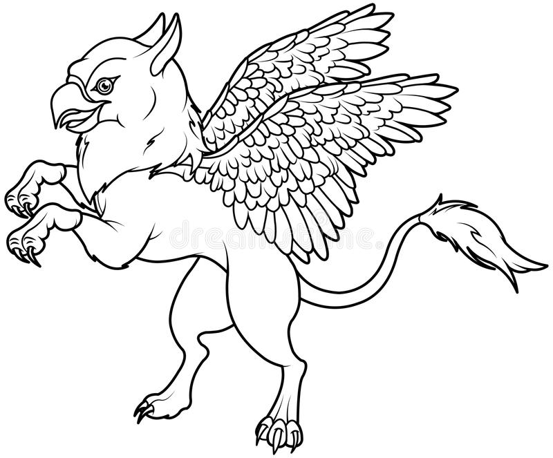 Flying Griffin stock vector. Illustration of coloring