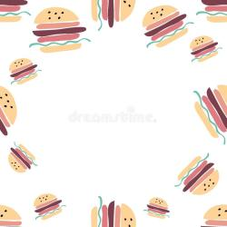 Food Background Burgers Hand Drawn Illustration For Your Design Stock Vector Illustration of bakery delicious: 127686945