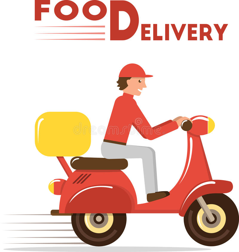 Food Delivery Concept Minimal Flat Vector Illustration Of