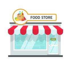 grocery vector food building illustration storefront facade front cartoon background signboard isolated roof flat