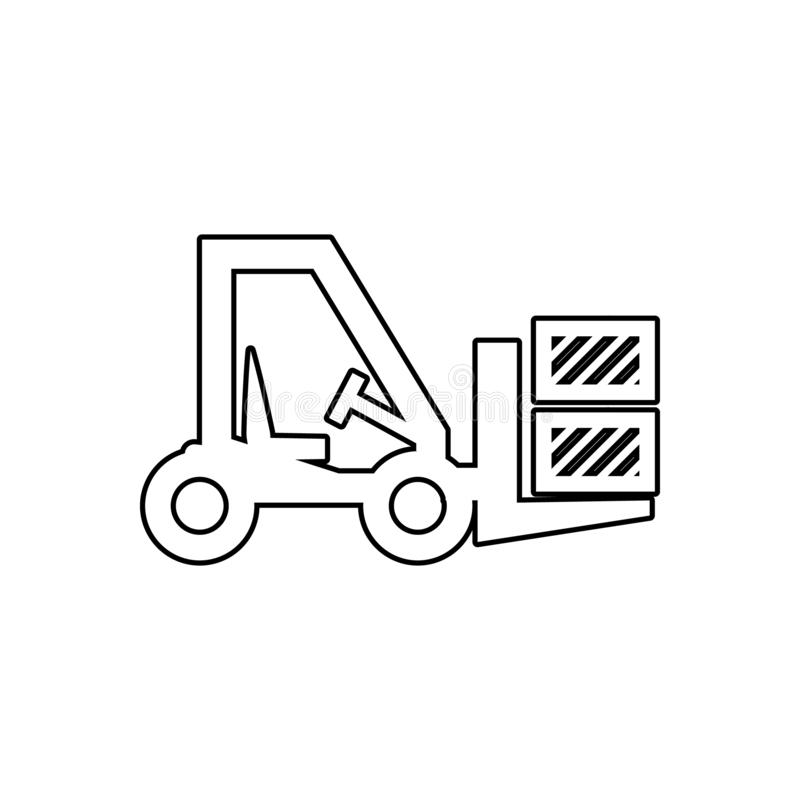 Forklift Thin Line Icon, Automobile And Cargo, Truck Sign