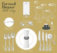 FORMAL DINNER TABLE SETTING Stock Vector - Illustration of ...