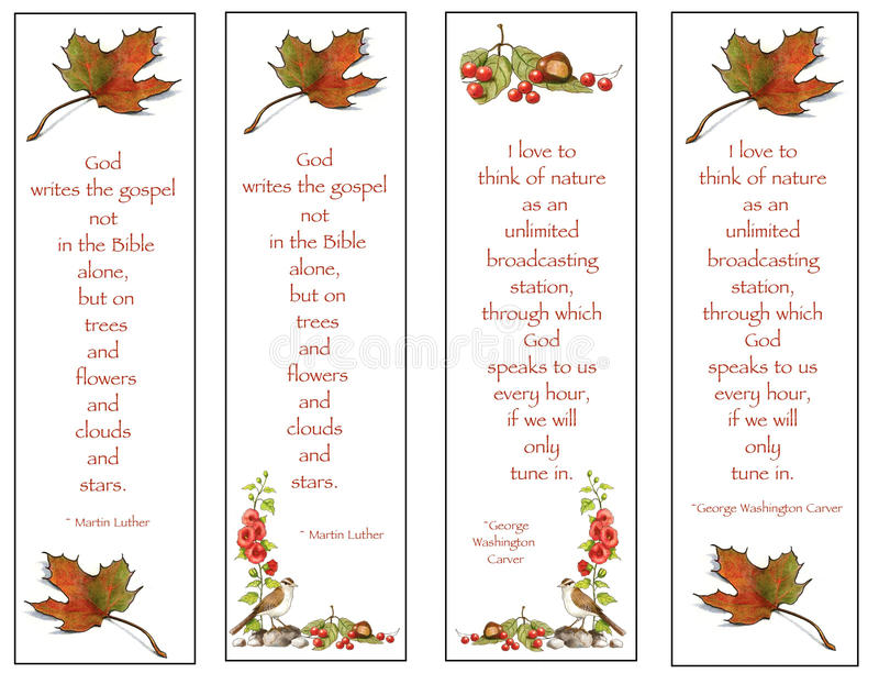 Four Bookmarks Nature Drawings With Quotes Stock