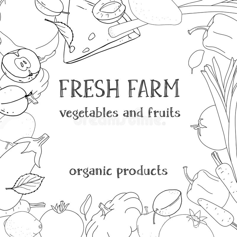 Frame With Farm Vegetables And Fruits. Black Outline On A