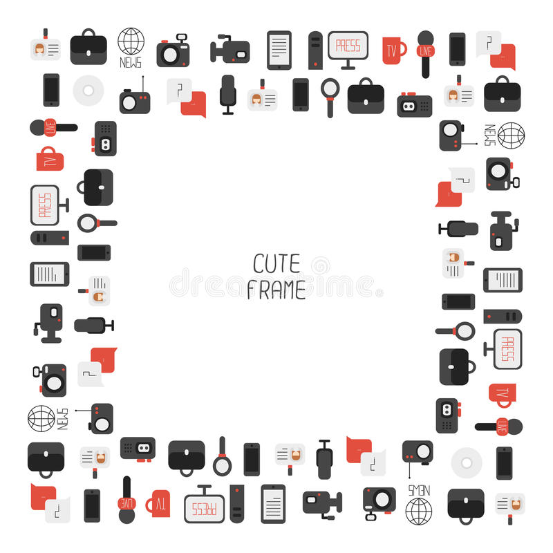 Frame Of Of Flat Colorful Vector Journalism Icons Stock
