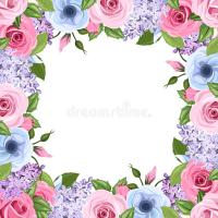 Frame With Pink, Blue And Purple Roses, Lisianthus And ...