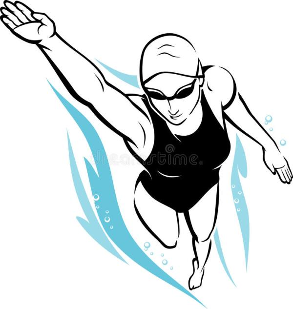 Women Freestyle Swimming Clip Art