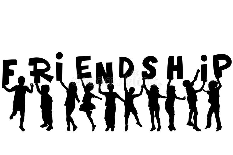 Friendship Concept With Black Sillhouettes Of Children