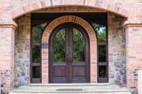 Front Door Home Arch Stone Wood Stock Photo