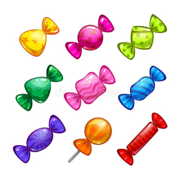 Funny Cartoon Colorful Candies Set Stock Vector