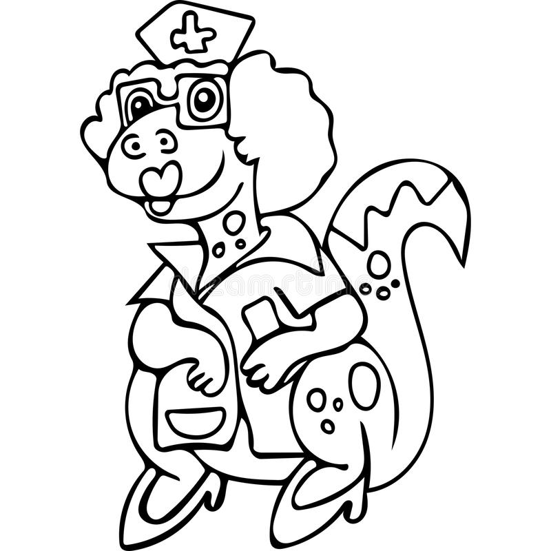 Funny Dinosaur Nurse Coloring Pages Stock Illustration