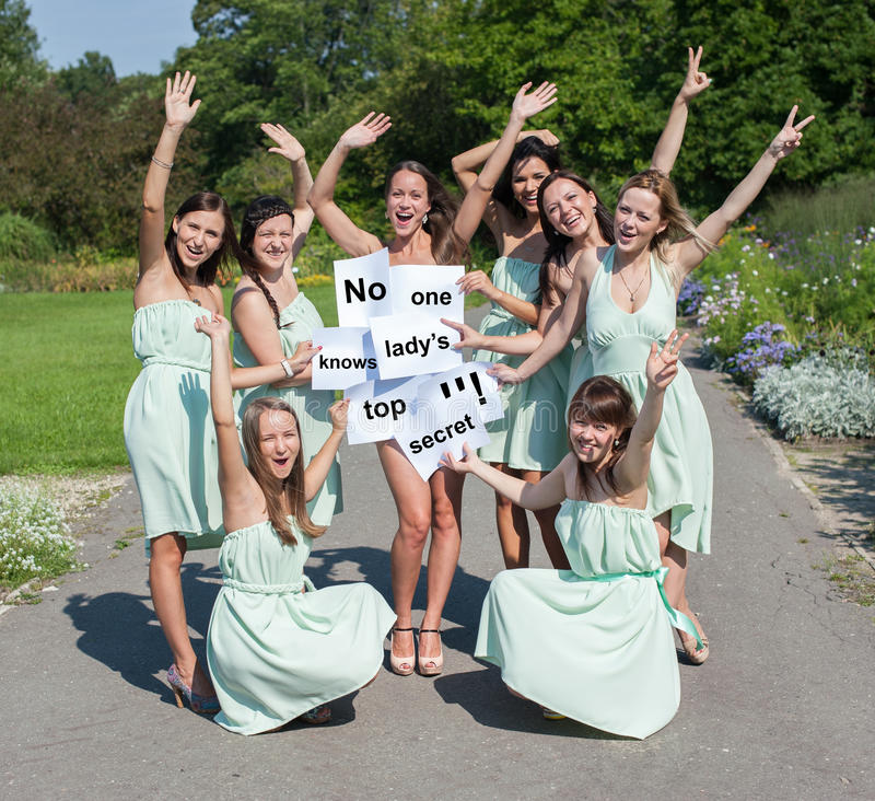 Funny girls in summer park stock photo Image of party