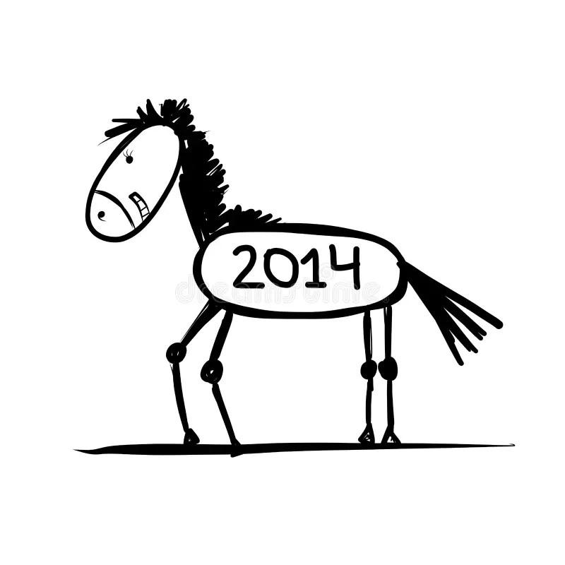 Funny horse sketch stock vector. Illustration of cartoon