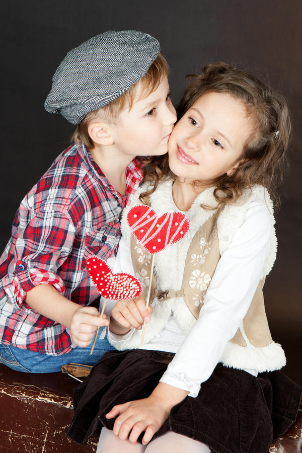 Girl And Boy Kiss Wallpaper Download Funny Little Couple In Love Royalty Free Stock Images