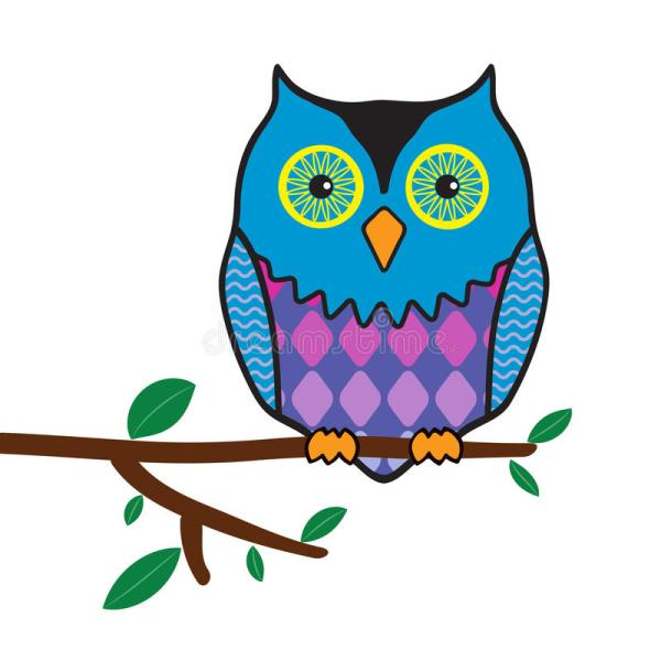 Funny Owl Sitting Tree Branch Stock Vector - Illustration Of Doodle Drawing 34387263