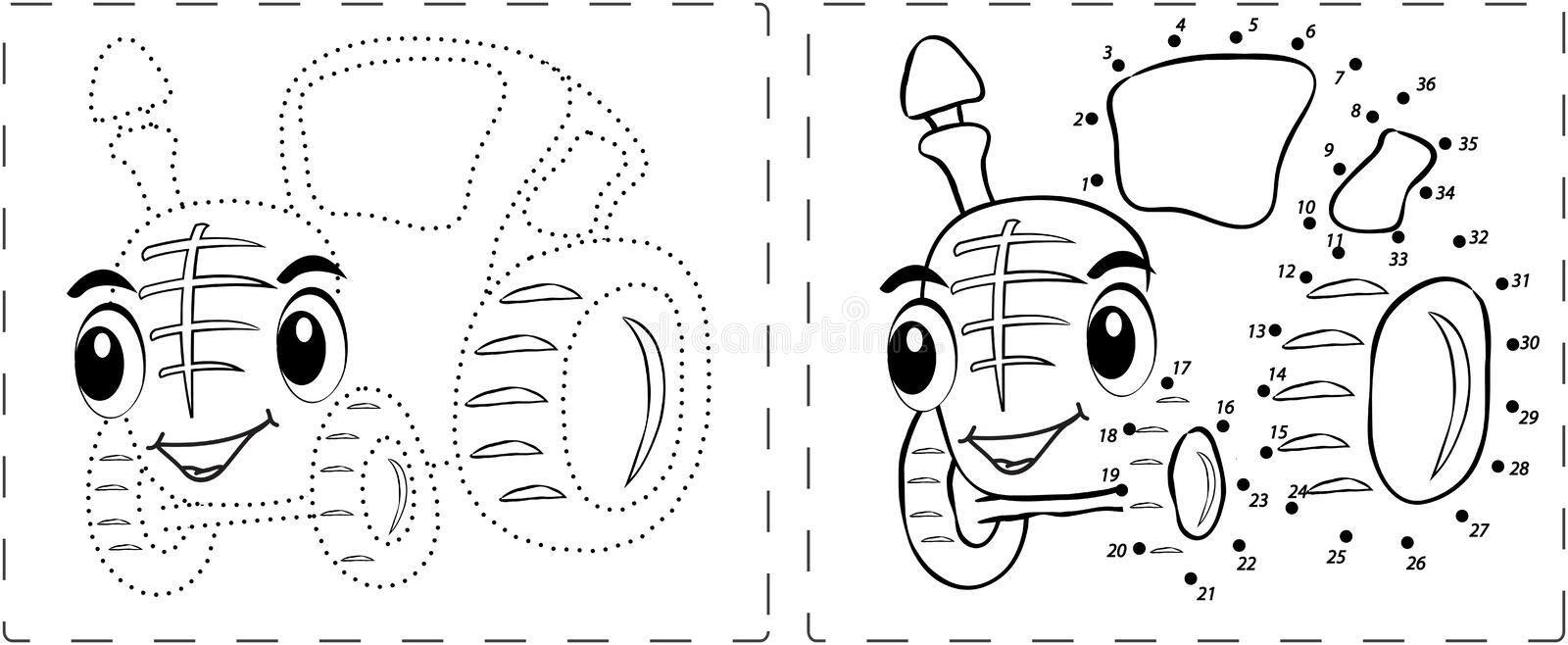 Funny Tractor Drawing With Dots And Digits Royalty Free