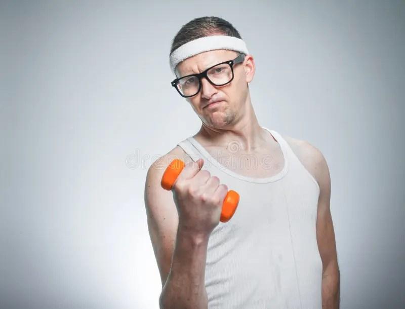 Funny Weak Man Lifting Biceps Stock Image - Image of ...