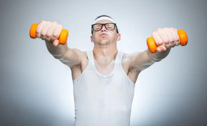 Funny Weak Man Lifting Shoulders Stock Image - Image of ...