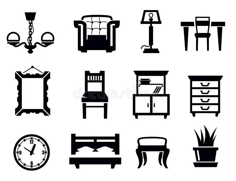 Furniture icon set stock vector. Image of furniture, sofa