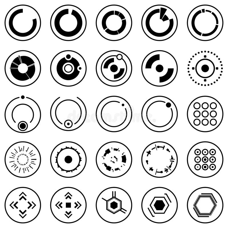 Set Of Futuristic User Interface Icons Stock Vector