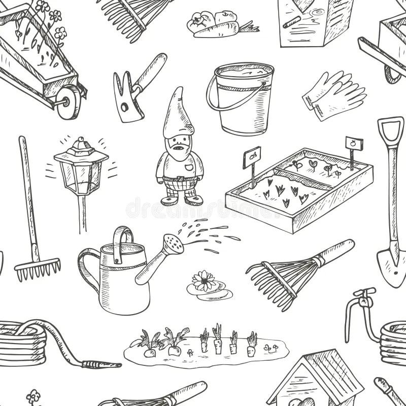 Garden Tools Seamless Pattern. Various Equipment