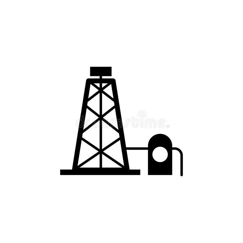 Old rusty oil pump jack stock illustration. Illustration
