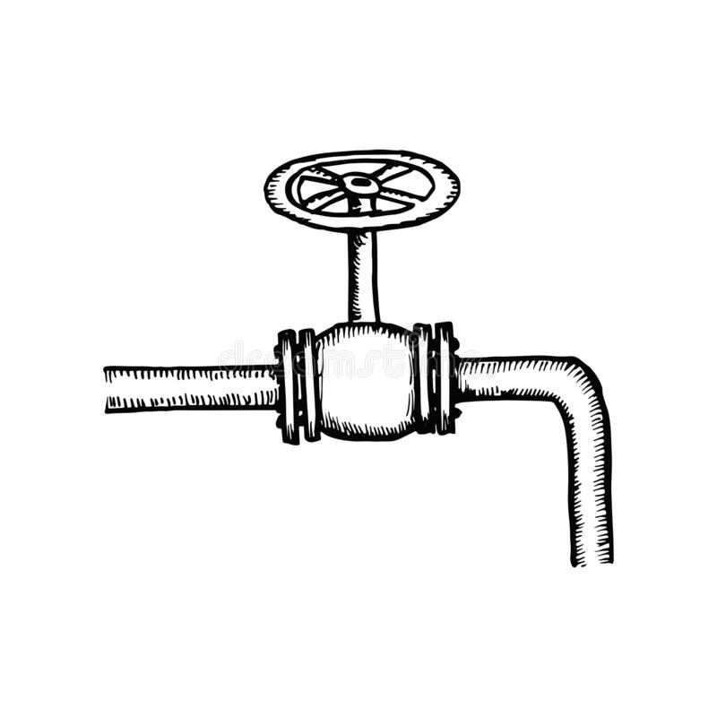 Sketch Of Piping Design Mixed To Industrial Equipment